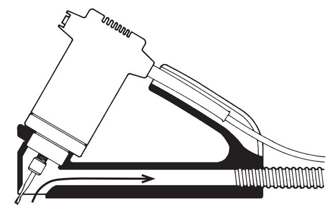 Az ablakszigeteléshez használt marógép  oldalról